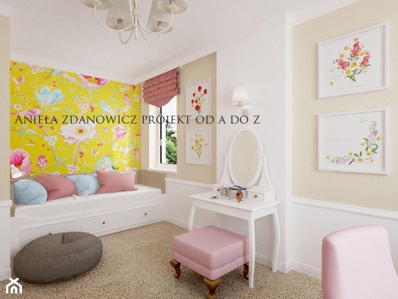projekt pokoju dla dziewczynki - Mały biały żółty brązowy pokój dziecka dla dziewczynki dla ucznia dla malucha dla nastolatka, styl rustykalny - zdjęcie od Aniela Zdanowicz Projekt od A do Z