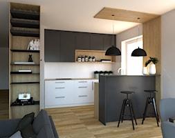 Projekt nowoczesnego salonu połączonego z kuchnią - Średnia otwarta szara kuchnia dwurzędowa w aneksie z oknem, styl nowoczesny - zdjęcie od PUFA STUDIO
