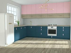Pastelowa kuchnia - Duża otwarta biała kuchnia w kształcie litery l z oknem, styl minimalistyczny - zdjęcie od PUFA STUDIO