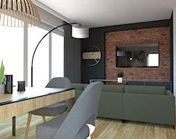 Projekt nowoczesnego salonu połączonego z kuchnią - Średni szary czarny salon z jadalnią, styl nowoczesny - zdjęcie od PUFA STUDIO