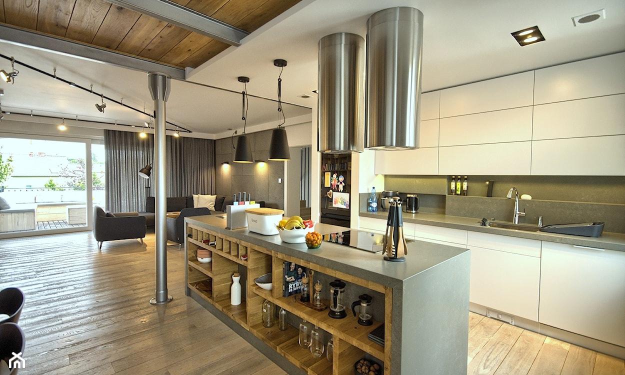 nowoczesna kuchnia połączona z salonem