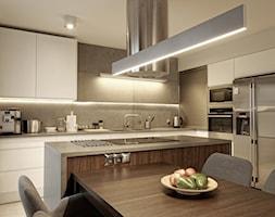 Spora kawalerka - Duża otwarta szara kuchnia w kształcie litery l z wyspą z oknem, styl nowoczesny - zdjęcie od Grzegorz Popiołek Projektowanie Wnetrz
