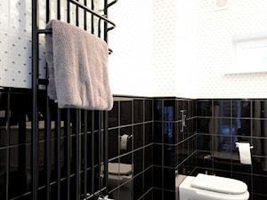 DOM W ŚREDNICY - Średnia biała czarna łazienka, styl klasyczny - zdjęcie od Grzegorz Popiołek Projektowanie Wnetrz