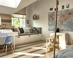 Pokój odkrywców. - Średni biały beżowy brązowy pokój dziecka dla chłopca dla malucha, styl eklektyczny - zdjęcie od Grzegorz Popiołek Projektowanie Wnetrz