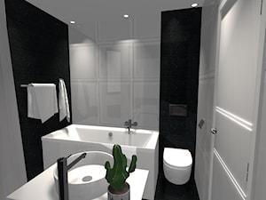 Łazienki - Średnia biała czarna łazienka na poddaszu w bloku w domu jednorodzinnym bez okna, styl kolonialny - zdjęcie od homebym