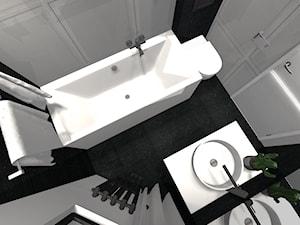 Łazienki - Mała biała czarna łazienka na poddaszu w bloku w domu jednorodzinnym bez okna, styl kolonialny - zdjęcie od homebym