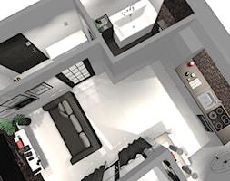 Minimalistyczna kawalerka - Mały biały salon z kuchnią, styl industrialny - zdjęcie od homebym
