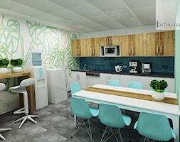 Kuchenka w biurze - Średnia otwarta kolorowa kuchnia jednorzędowa w aneksie, styl skandynawski - zdjęcie od Jachtoma design