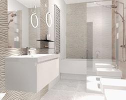 Projekt wnętrz szeregowca - mały apartament - Duża łazienka w bloku w domu jednorodzinnym bez okna, styl nowoczesny - zdjęcie od FORMAT