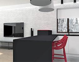 Mieszkanie w Julianowie- Piaseczno - Średnia otwarta biała czerwona kuchnia w kształcie litery u w aneksie z oknem, styl nowoczesny - zdjęcie od FORMAT
