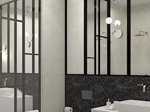 C Dębniki Kraków Penthouse - Średnia czarna szara łazienka w bloku w domu jednorodzinnym bez okna, styl eklektyczny - zdjęcie od STELLARstudio