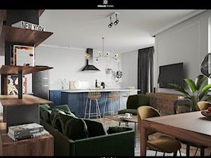 AV Kraków Apartment - Średni szary salon z jadalnią, styl eklektyczny - zdjęcie od STELLARstudio