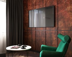 LP Kraków Apartment - Mały beżowy brązowy salon, styl eklektyczny - zdjęcie od STELLARstudio