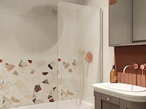KR Podgórze Kraków Apartment - Mała biała łazienka w bloku w domu jednorodzinnym bez okna, styl eklektyczny - zdjęcie od STELLARstudio