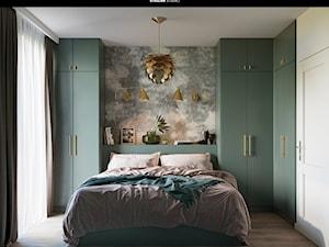 projekt SERPENS - Średnia biała szara sypialnia małżeńska, styl eklektyczny - zdjęcie od STELLARstudio