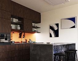 LP Kraków Apartment - Średnia otwarta pomarańczowa kuchnia jednorzędowa z wyspą, styl eklektyczny - zdjęcie od STELLARstudio