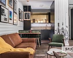 HH Kraków Apartment - realizacja - Średni biały salon z kuchnią z jadalnią, styl eklektyczny - zdjęcie od STELLARstudio