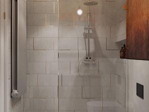 KRZM Podgórze Kraków Apartment - Mała brązowa szara łazienka w bloku w domu jednorodzinnym bez okna, styl eklektyczny - zdjęcie od STELLARstudio