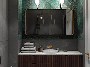 KRZM Podgórze Kraków Apartment - Mała czarna niebieska łazienka w bloku w domu jednorodzinnym bez okna, styl eklektyczny - zdjęcie od STELLARstudio