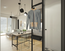 INDUSTRIALNA kawalerka - Mały biały hol / przedpokój, styl industrialny - zdjęcie od 2xKO Studio