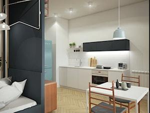WSPÓŁCZESNY vintage - Średnia otwarta biała kuchnia jednorzędowa w aneksie, styl vintage - zdjęcie od 2xKO Studio
