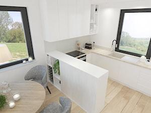 Dom w Radzionkowie - Mała otwarta biała szara kuchnia w kształcie litery u z oknem, styl nowoczesny - zdjęcie od Keokeo
