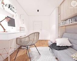 PROJEKT MAŁEGO POKOJU 9m2 / KRAKÓW - Średnia biała szara sypialnia małżeńska, styl skandynawski - zdjęcie od MADO DESIGN Projekty Wnętrz - Kraków