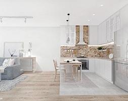 PROJEKT MIESZKANIA 54 m2 / KRAKÓW / ZABŁOCIE. - Średnia otwarta biała czerwona kuchnia w kształcie litery l w aneksie, styl skandynawski - zdjęcie od MADO DESIGN Projekty Wnętrz - Kraków