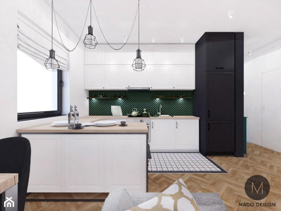 PROJEKT MIESZKANIA / KRAKÓW - Duża biała zielona kuchnia w kształcie litery u w aneksie z wyspą z oknem, styl industrialny - zdjęcie od MADO DESIGN Projekty Wnętrz - Kraków