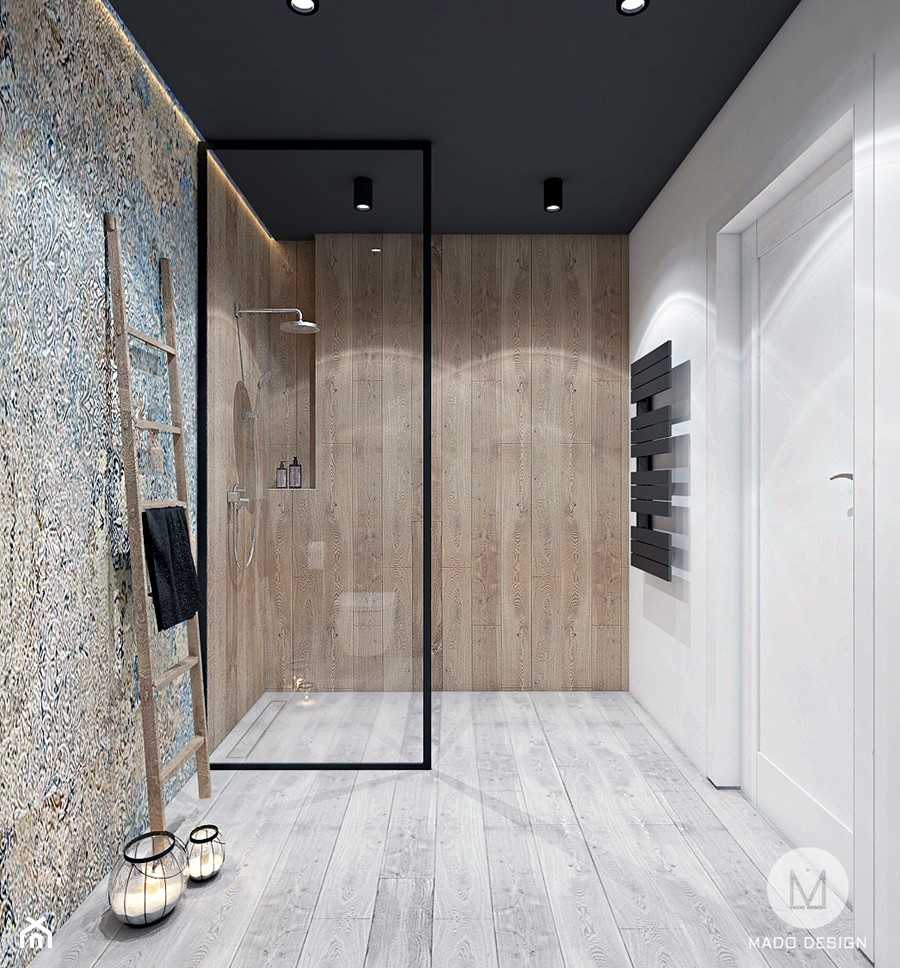 PROJEKT ŁAZIENKI I KUCHNI / GARLICA MUROWANA. - Średnia biała łazienka na poddaszu w bloku w domu jednorodzinnym bez okna, styl industrialny - zdjęcie od MADO DESIGN Projekty Wnętrz - Kraków