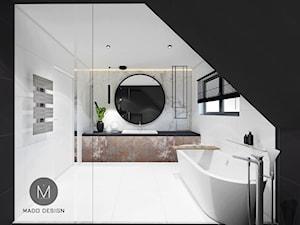 PROJEKT ŁAZIENKI / LIBERTOW - Duża biała czarna łazienka na poddaszu w domu jednorodzinnym z oknem, styl minimalistyczny - zdjęcie od MADO DESIGN Projekty Wnętrz - Kraków