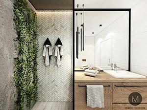 PROJEKT ŁAZIENKI W KRAKOWIE - Średnia biała szara łazienka na poddaszu w bloku w domu jednorodzinnym bez okna, styl industrialny - zdjęcie od MADO DESIGN Projekty Wnętrz - Kraków