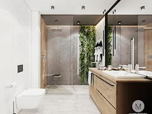 PROJEKT ŁAZIENKI W KRAKOWIE - Średnia biała szara łazienka w bloku w domu jednorodzinnym bez okna, styl industrialny - zdjęcie od MADO DESIGN Projekty Wnętrz - Kraków