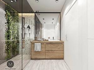 PROJEKT ŁAZIENKI W KRAKOWIE - Średnia biała łazienka w bloku w domu jednorodzinnym bez okna, styl industrialny - zdjęcie od MADO DESIGN Projekty Wnętrz - Kraków