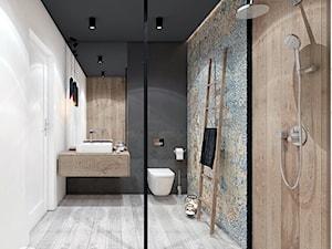 PROJEKT ŁAZIENKI I KUCHNI / GARLICA MUROWANA. - Średnia biała łazienka bez okna, styl industrialny - zdjęcie od MADO DESIGN Projekty Wnętrz - Kraków