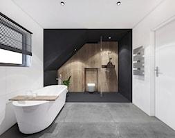 PROJEKT ŁAZIENKI/ LIBETÓW - Duża biała czarna łazienka na poddaszu w domu jednorodzinnym z oknem, styl minimalistyczny - zdjęcie od MADO DESIGN Projekty Wnętrz - Kraków
