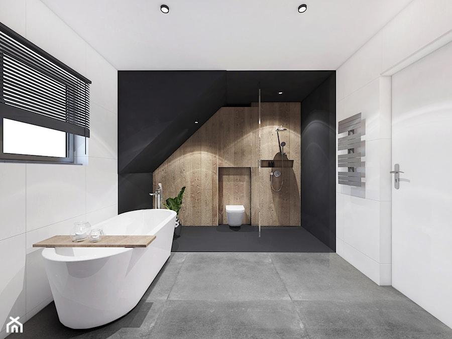 Projekt łazienki Libetów Duża Biała Czarna łazienka Na