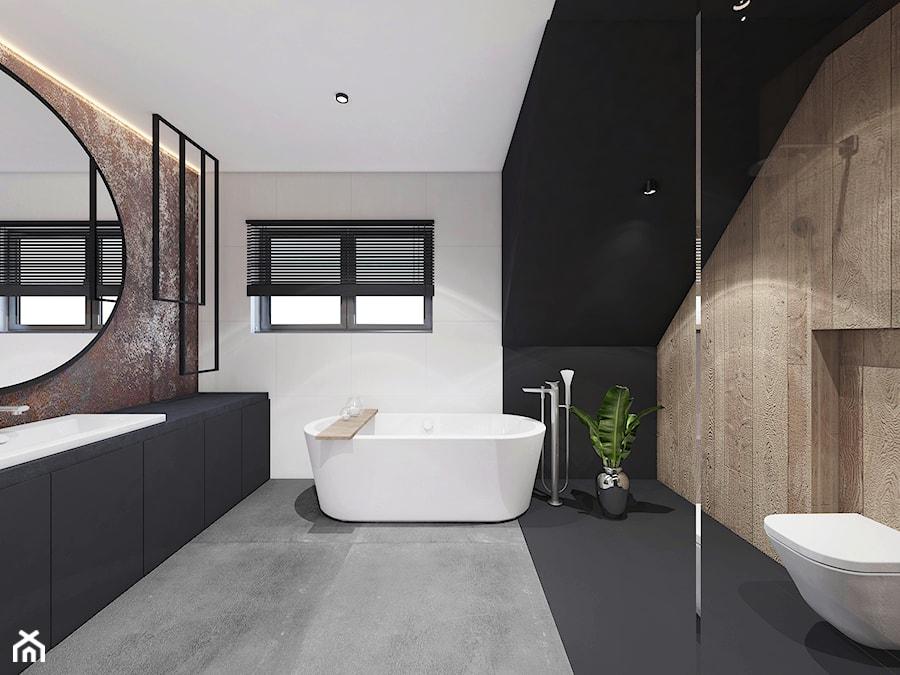PROJEKT ŁAZIENKI/ LIBETÓW - Średnia biała czarna łazienka na poddaszu w domu jednorodzinnym z oknem, styl minimalistyczny - zdjęcie od MADO DESIGN Projekty Wnętrz - Kraków