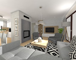 Dom w Jaczowie 2 - Duży beżowy salon z bibiloteczką z kuchnią z jadalnią z tarasem / balkonem, styl tradycyjny - zdjęcie od STUDIO WHITE Architektura Wnętrz