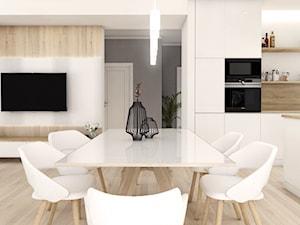 Projekt wnętrz - dom jednorodzinny okolice Poznania - Mały biały czarny salon z kuchnią z jadalnią, styl nowoczesny - zdjęcie od art-park sp. z o.o.