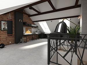 Dom jednorodzinny Kraków - Tyniec - Duże szare białe biuro pracownia domowe na poddaszu - zdjęcie od art-park sp. z o.o.