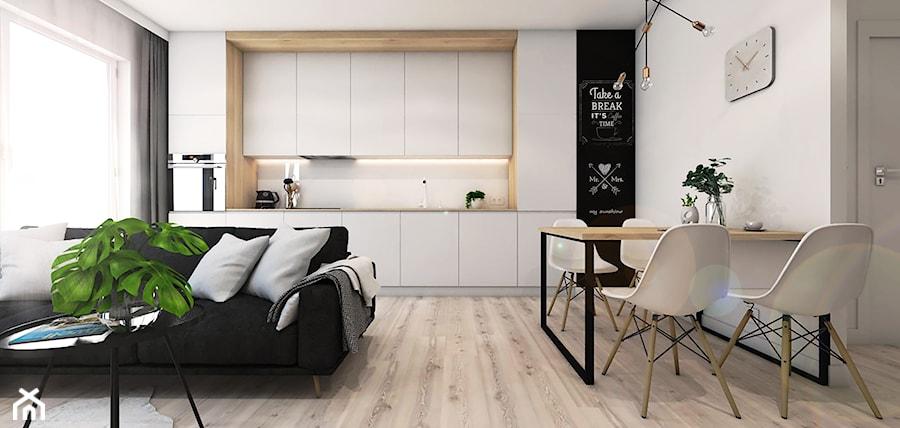 Nowoczesne mieszkanie na krakowskim Płaszowie - Średnia otwarta szara kuchnia jednorzędowa w aneksie z oknem, styl nowoczesny - zdjęcie od art-park sp. z o.o.