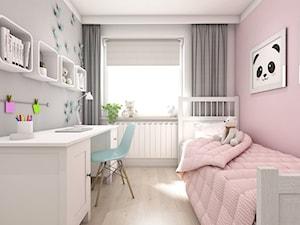 Projekt mieszkania ul. Chełmońskiego - Kraków - Mały szary różowy pokój dziecka dla dziewczynki dla ucznia dla nastolatka, styl skandynawski - zdjęcie od art-park sp. z o.o.