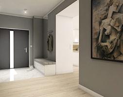 89dce77570b1b6 Projekt wnętrz - dom jednorodzinny okolice Poznania - Duży szary hol /  przedpokój, styl nowoczesny