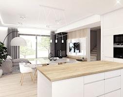 Projekt wnętrz - dom jednorodzinny okolice Poznania - Średnia otwarta biała kuchnia w aneksie z wyspą z oknem, styl nowoczesny - zdjęcie od art-park sp. z o.o.