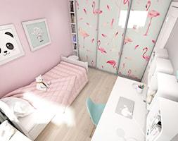 Projekt mieszkania ul. Chełmońskiego - Kraków - Mały szary różowy pokój dziecka dla dziewczynki dla ucznia dla malucha dla nastolatka, styl skandynawski - zdjęcie od art-park sp. z o.o.