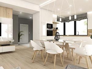 Projekt wnętrz - dom jednorodzinny okolice Poznania - Średni biały salon z kuchnią z jadalnią, styl nowoczesny - zdjęcie od art-park sp. z o.o.