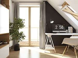 Projekt wnętrz w domu jednorodzinnym - Kraków - Małe czarne szare biuro domowe kącik do pracy na poddaszu, styl skandynawski - zdjęcie od art-park sp. z o.o.