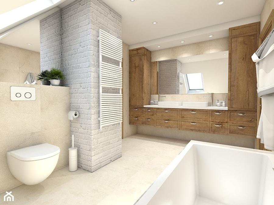 RUSTYKALNIE - dom w środku lasu - Średnia łazienka na poddaszu w domu jednorodzinnym z oknem, styl rustykalny - zdjęcie od art-park sp. z o.o.