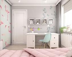 Projekt mieszkania ul. Chełmońskiego - Kraków - Mały szary pokój dziecka dla dziewczynki dla ucznia dla nastolatka, styl skandynawski - zdjęcie od art-park sp. z o.o.